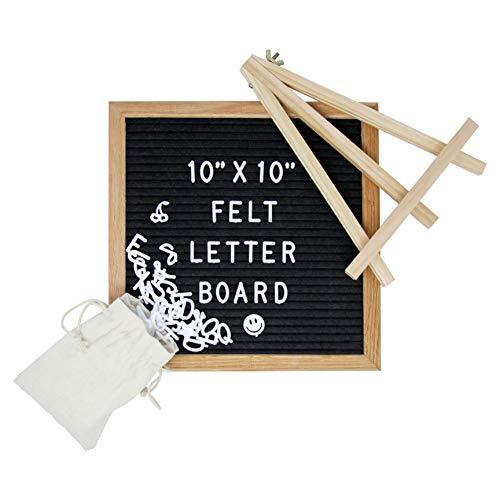 - Solid Oak Frame Black Felt Letter Board - 10in by 10in Letterboard - Letter Board for Signage and Messages - Word Board, Message Board and Letter Sign Gift Ideas