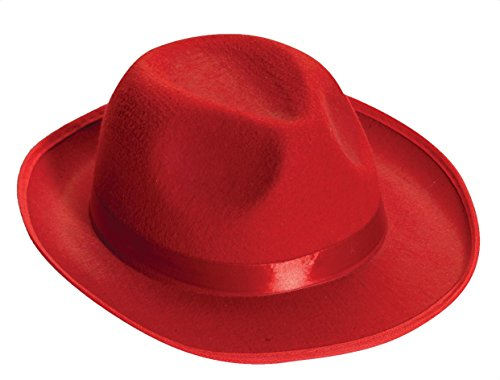 Carmen Sandiego Hat (Forum Novelties Men's Deluxe Adult Novelty Fedora Hat, Red, One Size)