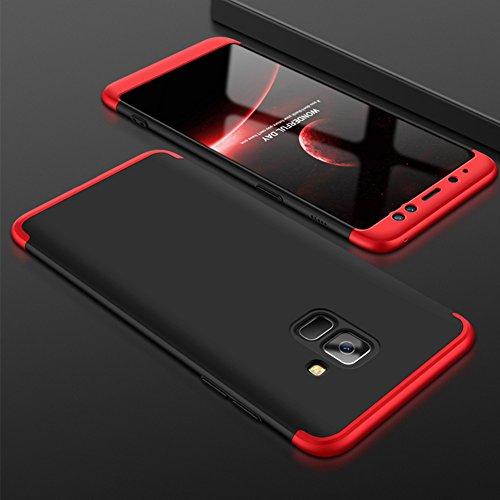 Samsung Galaxy A8 Plus 2018 Caso, Vandot de 360 Grados Alrededor de Todo el Cuerpo Completo de Protección Ultra Thin Slim Fit Cubierta de la Caja de Mate PC Absorción de impactos Shockproof para Samsu QBHD PC-5