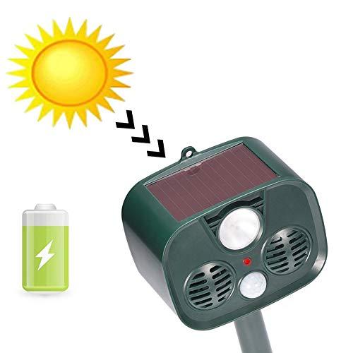 (PLIENG Cat Repellent Ultrasonic Solar Battery Powered Waterproof Pet Deterrent Dogs, Bird, Squirrels, Moles, Rats, Suitable for Manor, Farm, Courtyard)