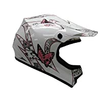 TMS Youth Kids Pink Butterfly Dirtbike Atv Motocross Helmet Mx (Small) by T-Motorsports
