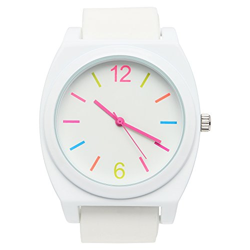 (Xhilaration Womens Rubber Watch Set with White, Pink & Green Interchangeable Bands)
