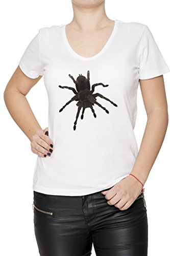 Araignée Blanc Coton Femme V-Col T-shirt Manches Courtes White Women's V-neck T-shirt