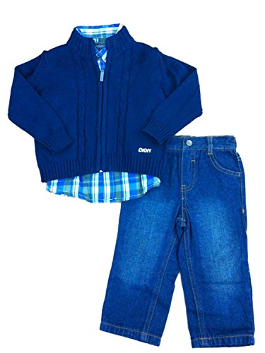 dkny-infant-boys-3-piece-dress-up-outfit-jeans-plaid-shirt-navy-blue-sweater-18m