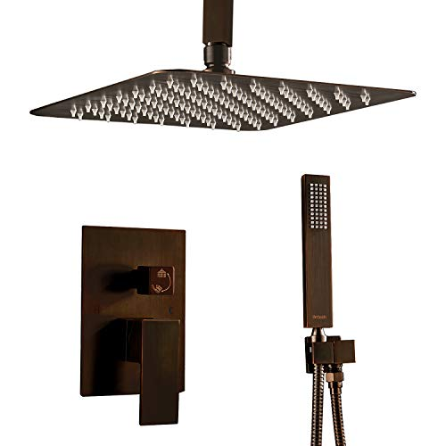 Artbath Bronze Shower System,Ceiling Mounted Luxury Rain Mixer Shower Faucet Set with Showerhead and Handheld Shower Head System(Contain Shower Faucet Rough-In Mixer Valve body and trim),Bronze