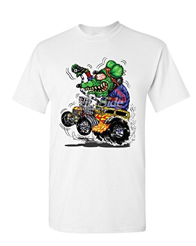 (8 Ball Yellow Hot Rod T-Shirt Crazy Green Monster Rat Muscle Car Mens Tee Shirt White XL)