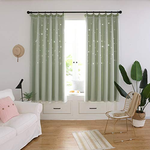 Alimao Starry Sky Sheer Curtain Tulle Window Treatment Voile Drape Valance Double-deck Clearance ()