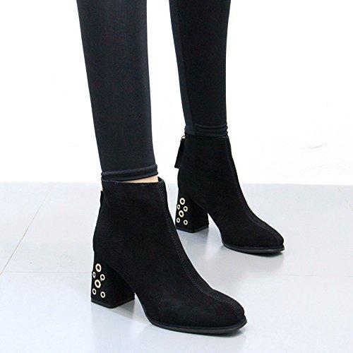 KPHY-Korean Cabeza Rough Heels Todos Coinciden Con Botas Y Velvet Botas De Tacón Alto Y Llevaban Botas Botas Elegantes Martin black