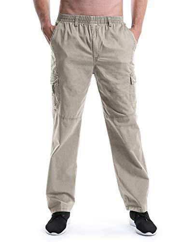(Men's Elastic Waist Relaxed Straight Leg Baggy Pull On Cargo Pants Khaki Tag XL - US 34)