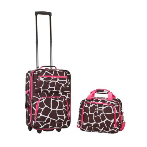 rockland-rio-upright-carry-on-tote-2-piece-luggage-set-pink-giraffe