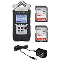 Zoom H4N PRO Digital Multitrack Recorder (2016 Version) + Zoom AD-14A/D Power Supply Adapter + (2x) 32GB Memory Cards