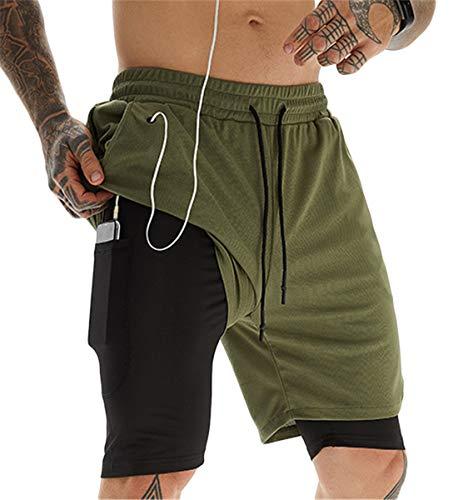 ASKSA Sportshorts voor heren, 2-in-1, hardlopen of gym, sneldrogend, ademend, trainingsbroek, joggingbroek met…