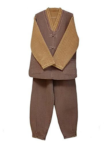 Altair Men Women Cotton 100% Quilted Jacket Vest Pants, Buddhist Zen Meditation Temple Clothing (brown/red brown, L) by Altair