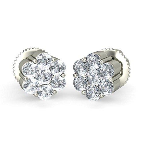 Or blanc 14K 0.286CT TW Round-cut-diamond (IJ | SI) Boucles d'oreille à tige