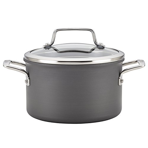 Anolon Authority Hard Anodized Nonstick 4-Quart Covered Saucepot, Gray ()