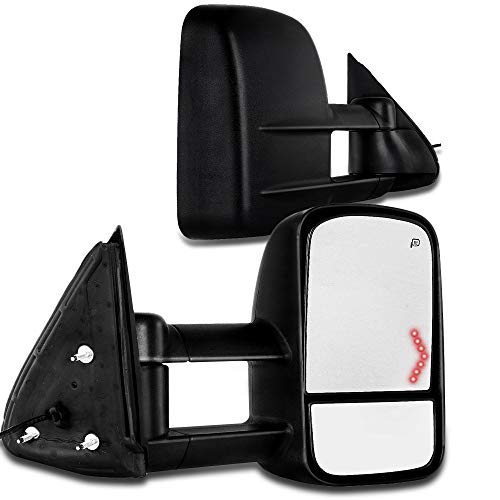 SCITOO Chevy GMC Towing Mirrors Pair Rear View Mirrors fit 2003-2007 Chevy GMC Silverado Sierra (07 Classic Models) with Power Control Heated Turn Signal Manual Telescoping and Folding Feature