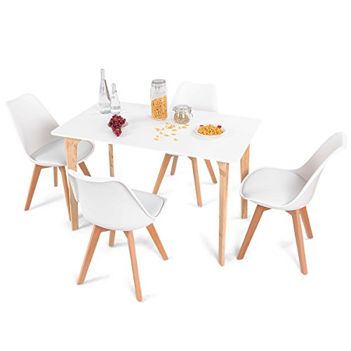 Giantex 5 Pieces Dining Table Set w 4 Chairs Home Dining Room Kitchen Waiting Room Modern Rectangular Table Mid-Century Dining Chairs with Padded Seat Wood Legs White