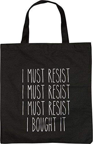styleBREAKER bolsa para compras con frase estampada «I MUST RESIST... I BOUGHT IT», bolsa, bolsa de tela, bolso, unisex 02012206, color:Negro Negro