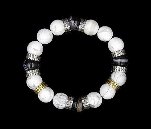 Men's Designer Bracelet, Matte White Howlite and Striped Black Onyx Bracelet, Beaded Bracelet Men