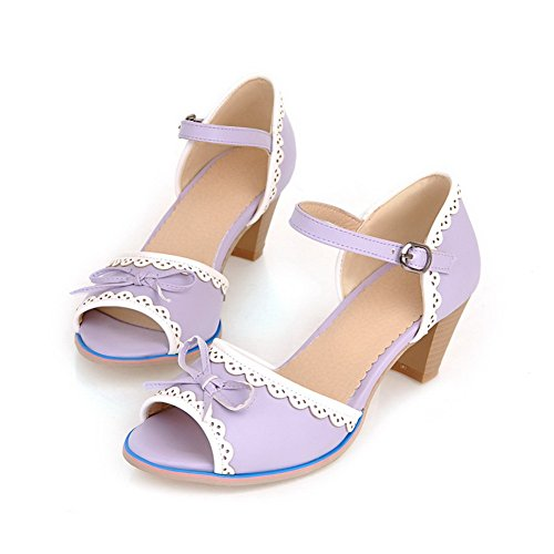 AmoonyFashion Womens Open Peep Toes Mid Heel Soft Material PU Solid Sandals with Bowknot and Chunky Purple X4AQonwv0M