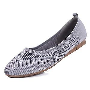sorliva Chaussures plates respirantes à enfiler pour femme, chaussures compensées décontractées confortables à bout rond