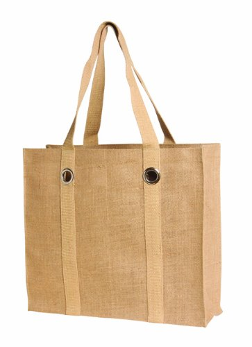 Eco friendly holiday shopping Bag Natural Jute Burlap Tote with Grommets - CarryGreen Bags