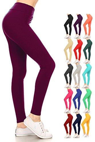 Leggings Depot Waist REG/PLUS Women's Buttery Soft Solid Leggings 16+Colors (Regular (Size 0-12), Purple (Purple Wine)
