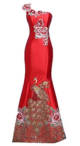 Style Slim Fit Jaycargogo Sexy Gown Chinese 1 Wedding Mermaid Embroidery Women Bodycon Night pq4wxR
