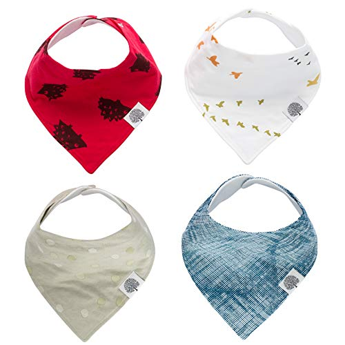 Parker Baby Bandana Drool Bibs - 4 Pack Baby Bibs for Boys, Girls, Unisex -