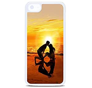 iPhone 5C Case Cover, Beach Sunset Love Polycarbonate Plastic Hardshell Case Back Cover for iPhone 5C White