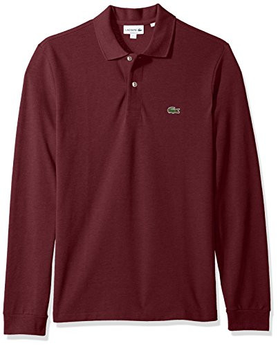 Lacoste Men's Long Sleeve Classic Chine Pique Polo, Red Basque Chine, 4