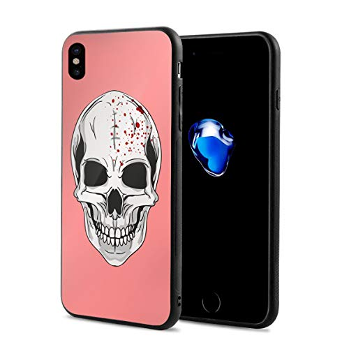 Creative iPhone Xs Case Black Rubber Protective Case Cover Halloween Skull Logo for iPhone X iPhone Xs 5.8 Inch Originality -