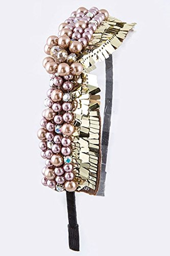 ry Pearls Metallic Beaded Statement Headband By Fashion Destination | (Taupe) (Nouveau Locket)