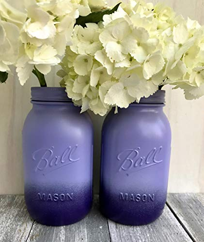 Set of 2 Purple Mason Jars Country Chic Wedding Decorations Rustic Bridal Shower Centerpieces