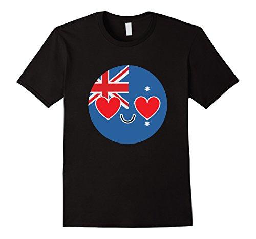 [Men's Australia Emoji Heart Eye Australian Shirt National T-Shirt Large Black] (Oktoberfest Costumes Australia)