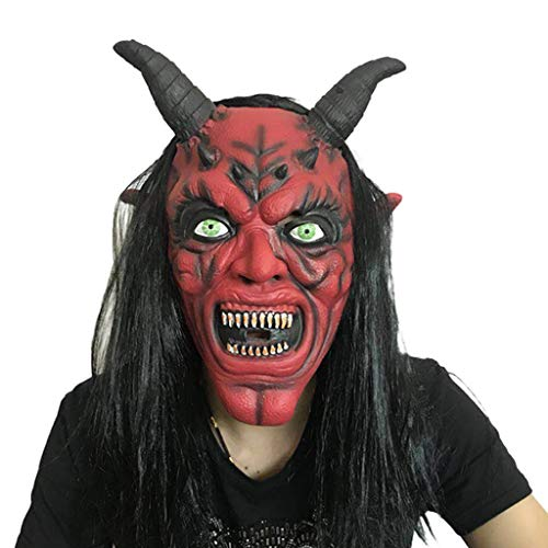 ZQG masks Long Hair red face Horn mask Horror Devil Halloween Scary Hood red Eye Gray Hair Show Props