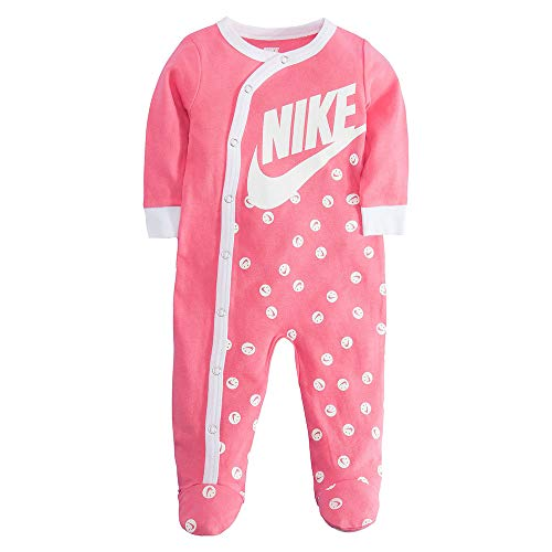 (NIKE Infant/Toddler Printed Footed Coverall (Pink(56D679-A5K)/White, 9 Months))