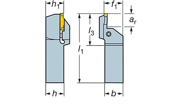 1.1 Maximum Depth of Cut Sandvik Coromant LF123L110-20B-140BM Steel CoroCut 41641 Shank Tool for Face Grooving Holder