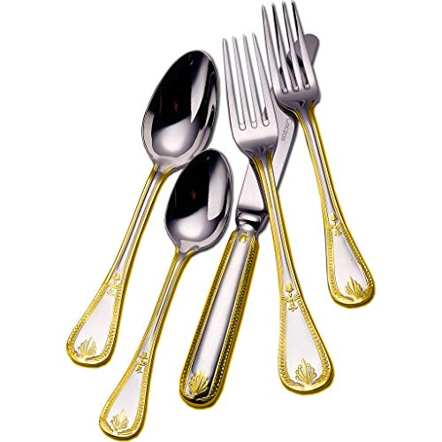 Couzon Consul Five Piece Silverware Set - Gold Accent Stainless Steel 148302