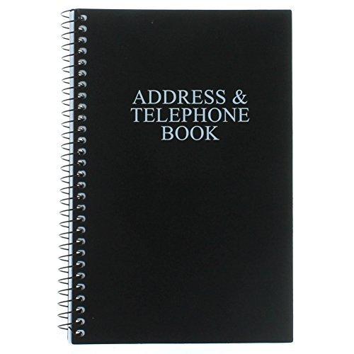Black Telephone Address Book Spiral Bound Vinyl Cover 8'' x 5''