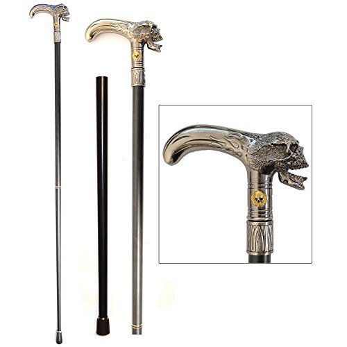 (Stately Walking Stick Pewter-Look Metal Flaming Skull Head 2-Piece Cane by SIGMA IMPEX INC)