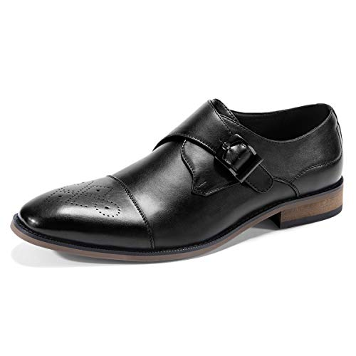 (Men's Dress Shoes- Single Monk Strap Slip-On Loafers Decorative Cap Toe Shoes Black 8)