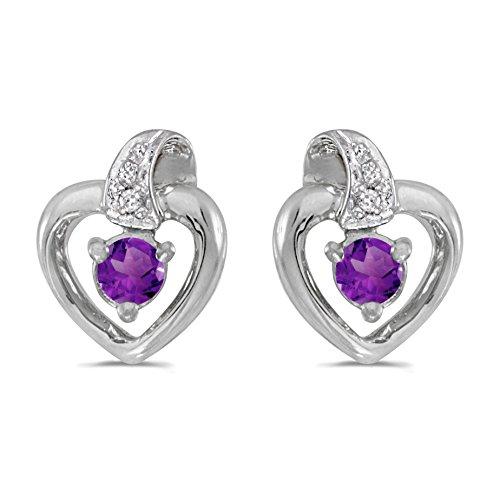 Amethyst Cluster Heart Post Earrings - 3
