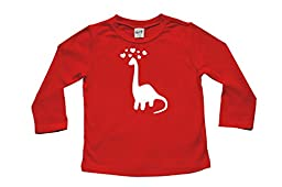 Dinosaur Love- Valentine\'s Day Baby & Toddler Long Sleeve T-shirt (4T (XS), Red)