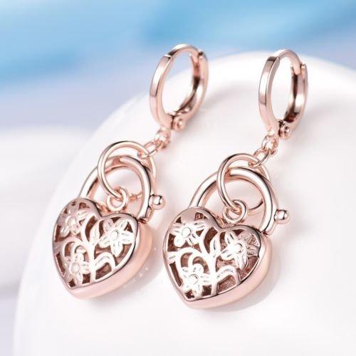 Filled Heart Dangle - Gozebra(TM) Womens Elegant 18K Rose Gold Filled Heart Lock Engagement Dangle Drop Earrings
