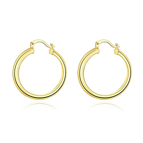 108 Double Flute (Aomily Jewelry 18K Gold Plated Hoop-Earrings For Womens Round)