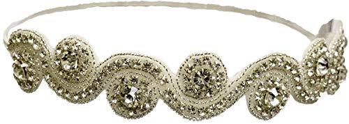 Mia Embellished Headband Hair Accessory, Beautiful Beaded Rhinestone White Swirl With Large Sparkly Diamond Rhinestones, For Women, Teens, Girls. Dress Up, Brides 1 pc
