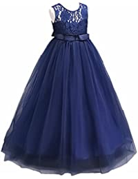 Big Girl Vintage Lace Junior Bridesmaid Dress Dance Ball Pageant Maxi Gown Floor Long for Party