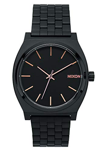 NIXON Time Teller A082 - All Black/Rose Gold - 137M Water Resistant Men's Analog Fashion Watch (37mm Watch Face, 19.5mm-18mm Stainless Steel Band)