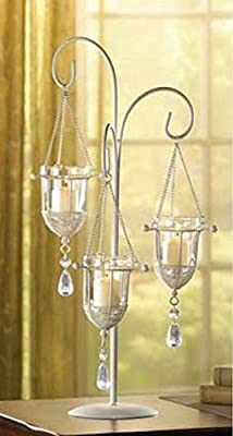 Crystal Drop Hanging Votive Candle Holders On Ivory Stand Centerpiece